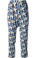 Etro Cropped Floral Print Trouser - Lyst