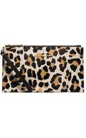 Michael Kors Bedford Leopard Hair Calf Clutch - Lyst