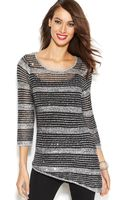 Inc International Concepts Striped Sequined Asymmetrical Tunic - Lyst