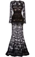 Elie Saab Black Lace Column Gown - Lyst