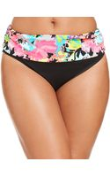 Kenneth Cole Reaction Banded Floral-print Bikini Bottom - Lyst