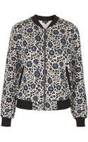 Topshop Floral Print Jersey Bomber Jacket - Lyst