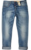 River Island Light Wash Chester Ankle Grazer Tapered Jeans - Lyst
