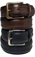 Tommy Hilfiger Saddle Leather Belt with Stitched Inset - Lyst