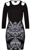 McQ by Alexander McQueen Cold Shoulder Printed Bodycon Dress - Lyst