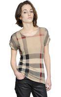 Burberry Brit Check Printed Modal Tshirt - Lyst