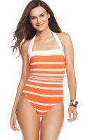 Lauren by Ralph Lauren Striped Halter Onepiece Swimsuit - Lyst