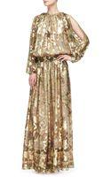 Etro Metallic Coldshoulder Jacquard Gown - Lyst