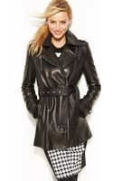 Michael Kors Michael Moto Leather Trench Coat - Lyst