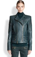 Balmain Quilted Leather Moto Jacket - Lyst
