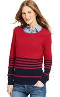 Tommy Hilfiger Striped Crew-neck Sweater - Lyst