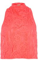 River Island Coral Lace High Neck Top - Lyst