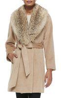 Sofia Cashmere Fur-collar Wrap Coat - Lyst