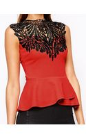 Lipsy Lace High Neck Peplum Top - Lyst