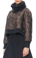 Dolce & Gabbana Brocade Crewneck Top with Ribbed Cashmere Trim - Lyst