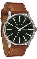 Nixon Sentry Leather Brown Watch - Lyst