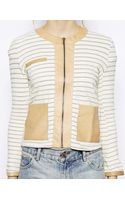 Love Zooey French Terry Stripe Zip Jacket with Leather Pockets - Lyst