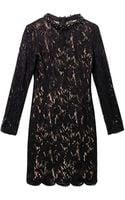 Lanvin Embellished-neckline Velvet-lace Dress - Lyst