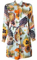 MSGM Printed Tiewaist Shirt Dress - Lyst