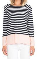 Vince Colorblocked Striped Raglan Sweater - Lyst