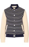 Petit Bateau Faux Shearling Lined Striped Cotton Jersey Jacket - Lyst