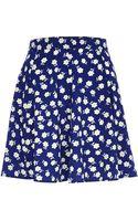 River Island Blue Daisy Print Skater Skirt - Lyst