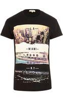 River Island Black American Cities Print T-shirt - Lyst