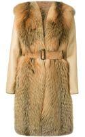 Liska Fur Belted Coat - Lyst
