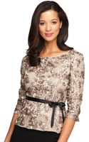 Alex Evenings Plus Plus Rosette Top with Tie Belt - Lyst