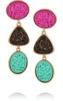 Oscar de la Renta Goldplated Carved Cabochon Clip Earrings - Lyst