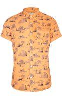 River Island Orange Urban Print Short Sleeve Shirt - Lyst