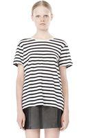 Alexander Wang Stripe Linen Cotton Tee - Lyst
