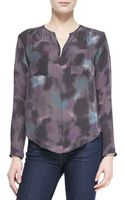 Rebecca Taylor Floral Haze Watercolorprint Silk Blouse - Lyst