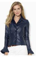 Lauren by Ralph Lauren Leather Peplum Jacket - Lyst