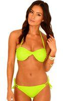 Missguided Jacalyn Twist Bandeau Bikini Top in Acid Green - Lyst