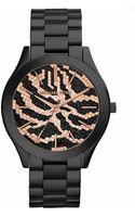 Michael Kors Ladies Black Slim Runway Watch with Zebra Dial - Lyst