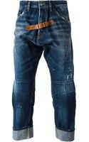 DSquared2 Leather Strap Detail Jeans - Lyst