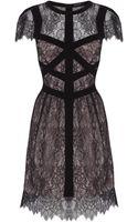 Karen Millen Delicate Lace Panelled Dress - Lyst