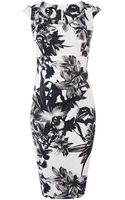 Karen Millen Monochrome Floral Dress - Lyst