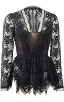 Oscar de la Renta Black Lace Blouse Jacket - Lyst
