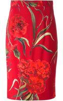 Dolce & Gabbana Carnations Print Pencil Skirt - Lyst