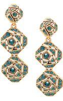 Oscar de la Renta Goldtone Swarovski Crystal Rose Tripledrop Earrings - Lyst