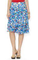 Lauren by Ralph Lauren Floralprint Ruffled Skirt - Lyst