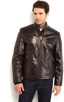 Marc New York Brown Leather Motorcycle Jacket - Lyst