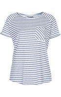 Topshop Blue Stripe Raglan Tee - Lyst