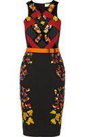 Peter Pilotto Lera Embellished Wool Crepe and Velvet Dress - Lyst