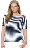 Lauren by Ralph Lauren Plus Squareneck Stripe Shirt - Lyst