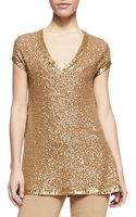 Donna Karan New York Sequined Cashmere Capsleeve Tunic - Lyst