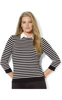 Lauren by Ralph Lauren Plus Collared Polkadot Crewneck Sweater - Lyst