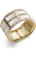 Inc International Concepts Goldtone Square Stone and Glass Crystal Stretch Bangle Bracelet - Lyst